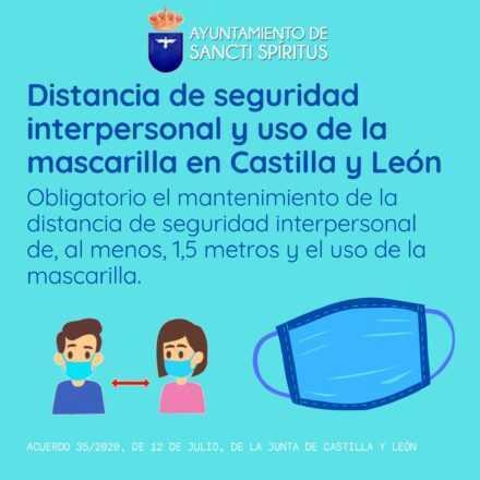 Distancia de seguridad interpersonal y uso de la mascarilla en Castilla y León