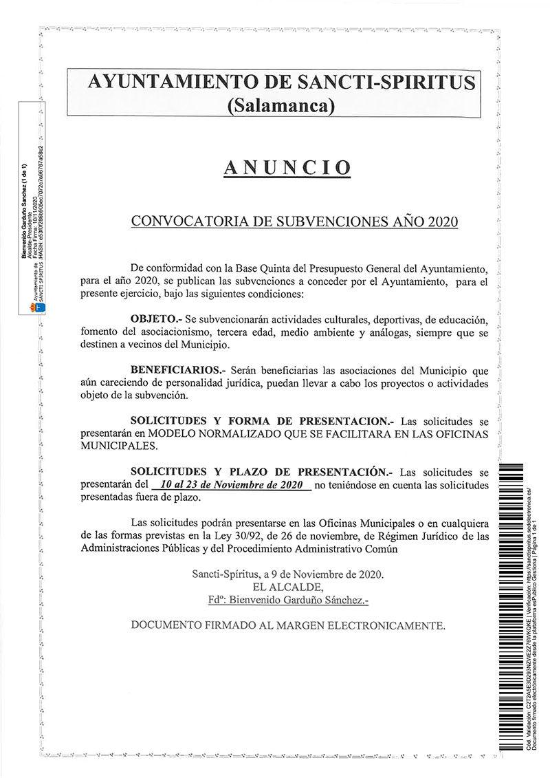 CONVOCATORIA DE SUBVENCIONES AÑO 2020