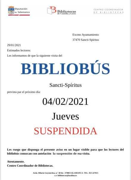 Suspendida la visita del Bibliobus