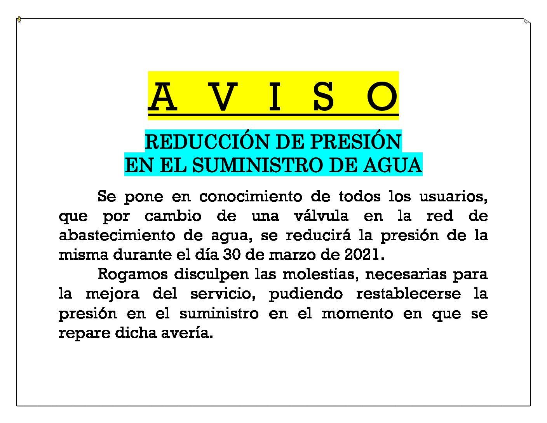 AVISO REDUCCIÓN DE PRESIÓN EN EL SUMINISTRO DE AGUA