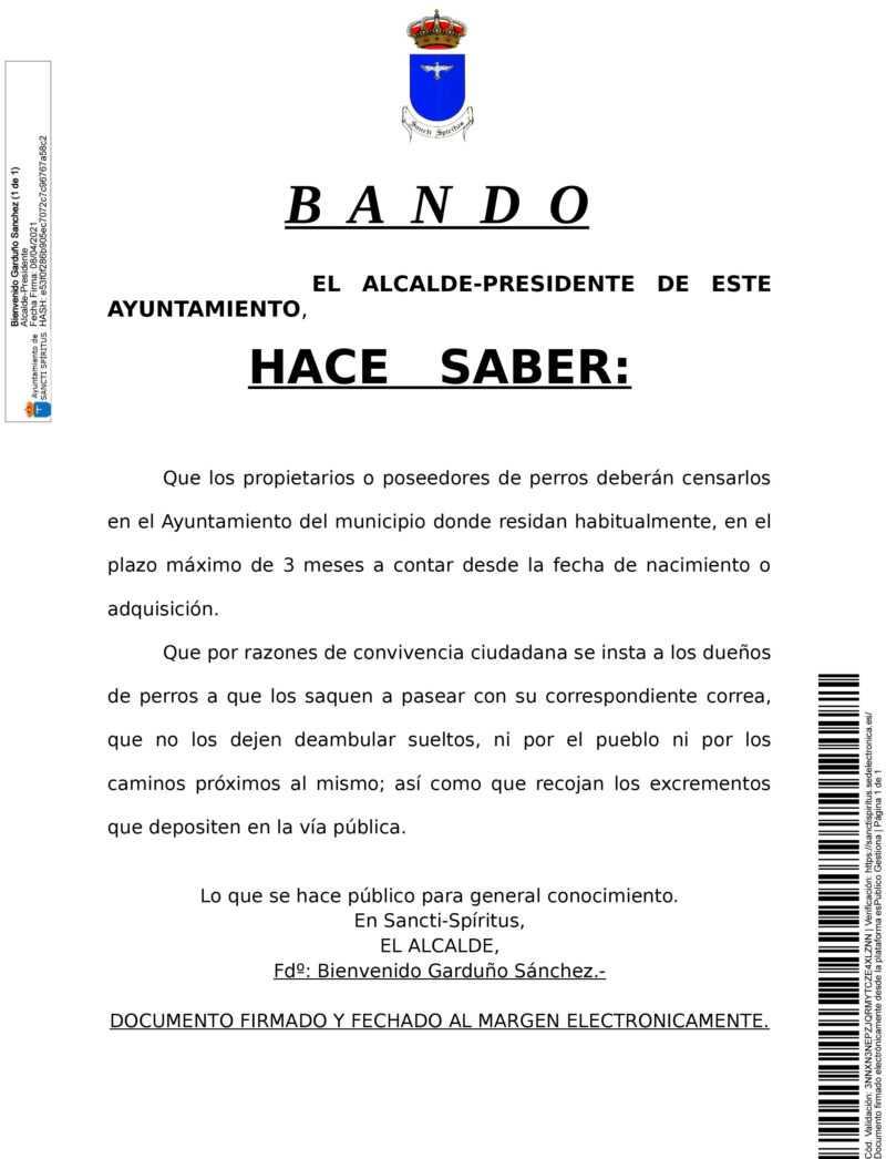 BANDO CENSO DE PERROS