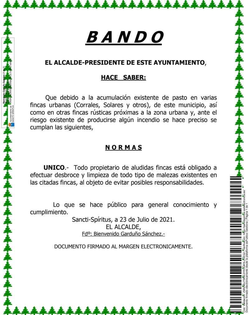 BANDO- LIMPIEZA DE SOLARES